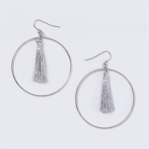 Gina Tricot Silver Tassel Hoop Earrings Korvakorut