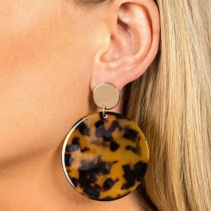 Gina Tricot Toirtoiseshell Disc Drop Earrings Korvakorut