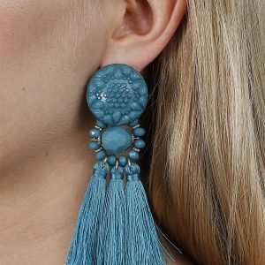 Gina Tricot Turquoise Beaded Tassel Earrings Korvakorut