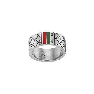 Gucci Diamantissima Kapea Sormus Vihreä / Punainen Hopea