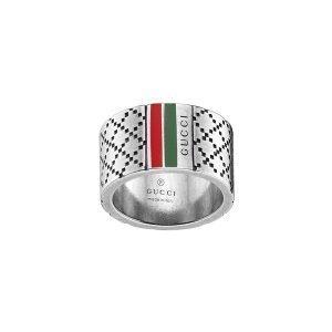 Gucci Diamantissima Leveä Sormus Vihreä / Punainen Hopea