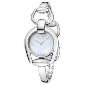 Gucci Horsebit Kello White Pearl / Diamonds