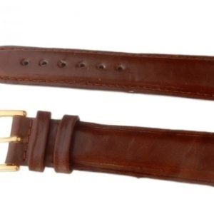 Klockarmband Brunt Läder 18mm Guldspänne