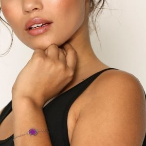 Marc Jacobs Enamel Logo Disc Bracelet Rannekoru Violetti