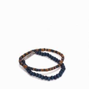 Nic & Mel Wooden Bracelet Rannekoru Indigo