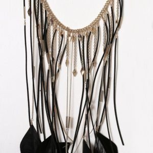 Nly Accessories Feather Cascade Necklace Kaulakoru Multicolor