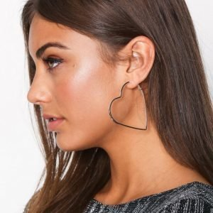 Nly Accessories Heart Hoop Earrings Korvakorut Hopea