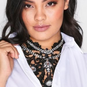 Nly Accessories Lace Crochet Necklace Kaulakoru Musta