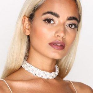 Nly Accessories Pearl & Crystal Choker Kaulakoru Pearl