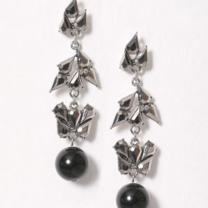 Nly Accessories Rhinestone Leaf Ball Drop Earring Korvakorut Hopea / Musta