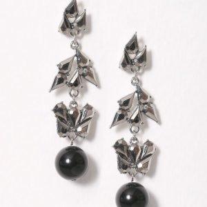 Nly Accessories Rhinestone Leaf Ball Drop Earring Korvakorut Hopea / Musta