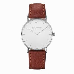 Paul Hewitt Watch Sailor Line White Sand Stainless Steel Leather Kello Valkoinen/ruskea