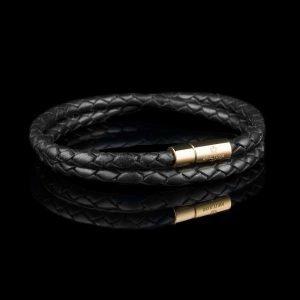 Skultuna Nahkaranneke Kulta 2 Rivinen Large Musta 42 Cm