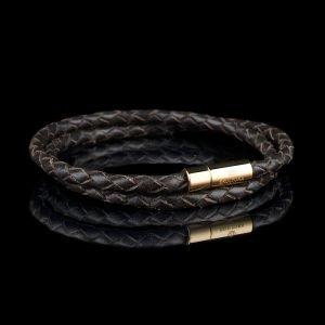 Skultuna Nahkaranneke Kulta 2 Rivinen Large Ruskea 42 Cm