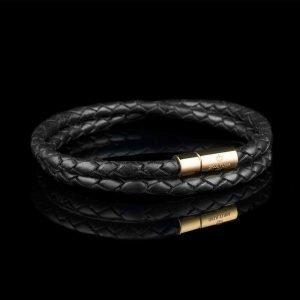 Skultuna Nahkaranneke Kulta 2 Rivinen Medium Musta 40 Cm