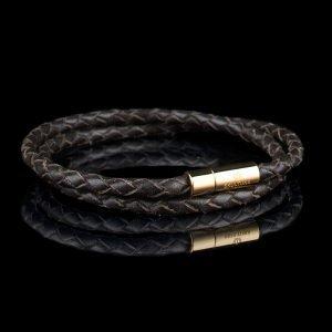 Skultuna Nahkaranneke Kulta 2 Rivinen Medium Ruskea 40 Cm