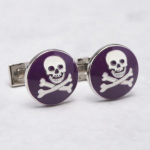 Skultuna Skull & Bones Purple / White Cuff Links