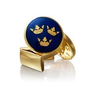 Skultuna Three Crowns Cuff Links Gold L Royal Blue Kalvosinnapit
