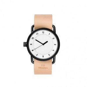 TID Watches No.1 White / Natural Leat Kello Valkoinen