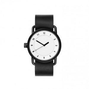 TID Watches No.1 White/Black Leathe Kello Valkoinen