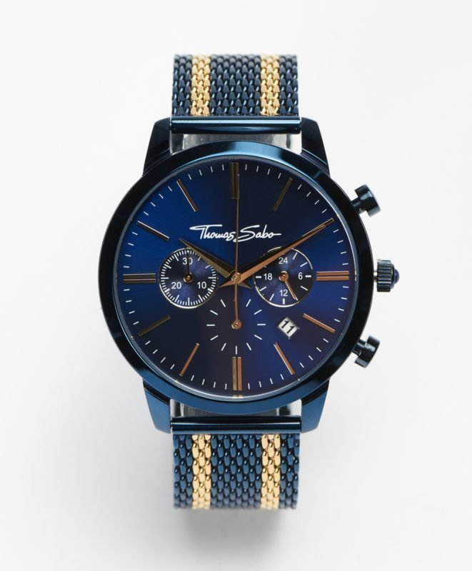 Thomas Sabo Rebel Spirit Chrono Mesh Navy / Gold