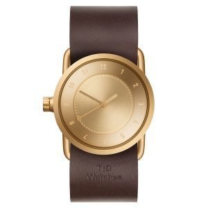 Tid Watches Tid No.1 Kulta Rannekello Walnut Nahkaranneke 33 Mm
