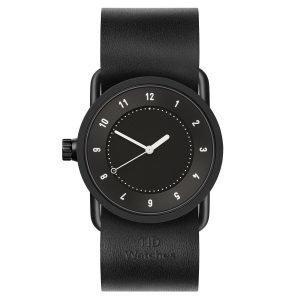 Tid Watches Tid No.1 Musta Rannekello Musta Nahkaranneke 33 Mm