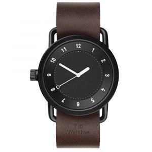 Tid Watches Tid No.1 Musta Rannekello Walnut Nahkaranneke