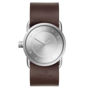 Tid Watches Tid No.1 Teräs Rannekello Walnut Nahkaranneke 33 Mm