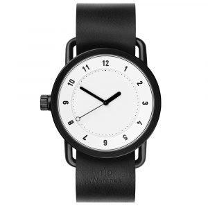 Tid Watches Tid No.1 Valkoinen Rannekello Black Nahkaranneke
