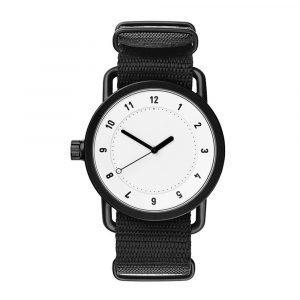 Tid Watches Tid No.1 Valkoinen Rannekello Black Nylon 36 Mm