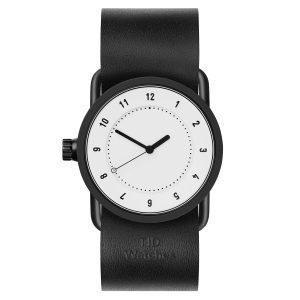 Tid Watches Tid No.1 Valkoinen Rannekello Musta Nahkaranneke 33 Mm