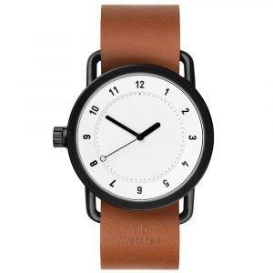 Tid Watches Tid No.1 Valkoinen Rannekello Tan Nahkaranneke