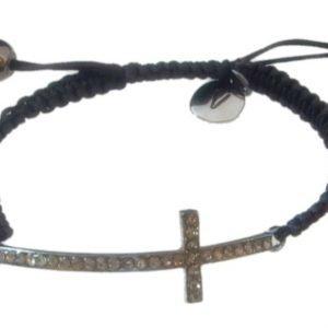 VÅGA Armband Blingkors Svart