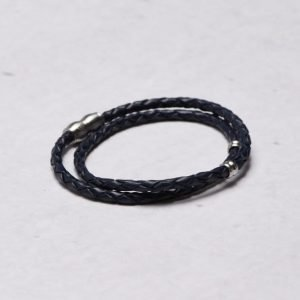 by Billgren Leather Bracelet 8966 Blue/Steel