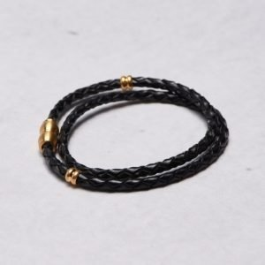 by Billgren Leather Bracelet 8967 Black/Gold