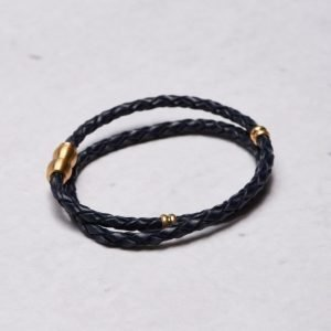 by Billgren Leather Bracelet 8969 Blue/Gold