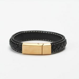 by Billgren Leather Bracelet 8970 Black/Gold