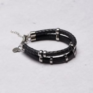 by Billgren Leather Double Bracelet 8923 Black