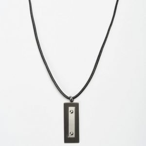 by Billgren Leather/Steel Necklace black/steel